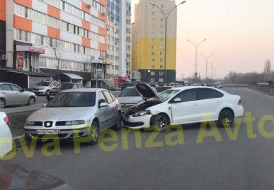 В Пензенской области иномарка протаранила несколько авто