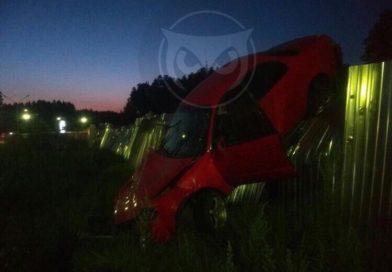 В Пензенской области иномарка повисла на заборе